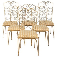 Six 1940s Wrought Iron Dining Chairs by Rene Prou
