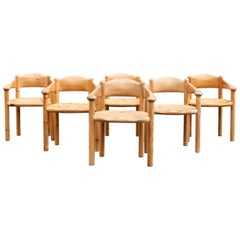 Six 1970s Solid Pine Carver Chairs by Rainer Daumiller for Hirtshals Savværk