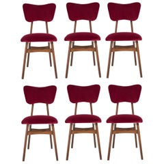 Six 20th Century Burgundy Red Chairs, 1960s
