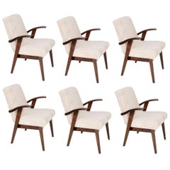 Six 20th Century Vintage Light Cream Armchairs by Mieczyslaw Puchala, 1960s