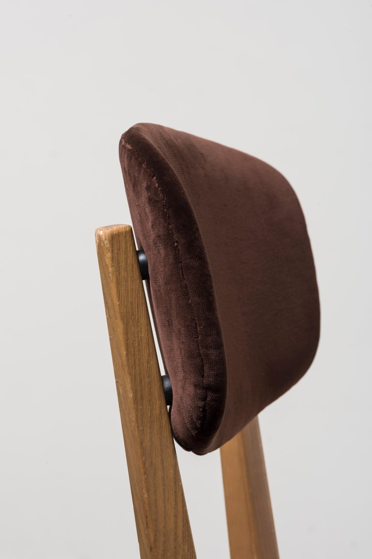 Velvet Six 691 Chairs by Ico Parisi For Sale