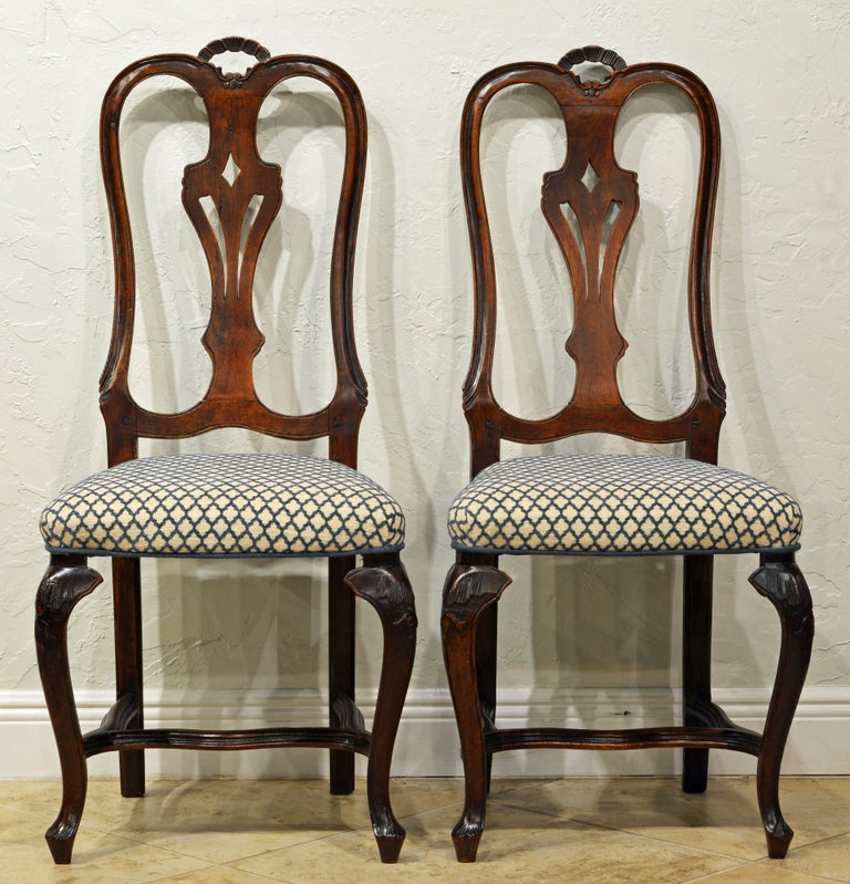 Rococo Six 18th Century Italian Provincial Louis XV Style Carved Walnut Dining Chairs For Sale
