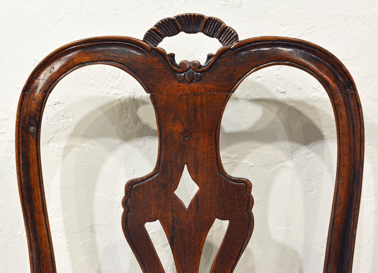 Six 18th Century Italian Provincial Louis XV Style Carved Walnut Dining Chairs For Sale 1