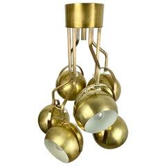 Six Adjustable Lights Brass Chandelier by Goffredo Reggiani, Italy, 1960s