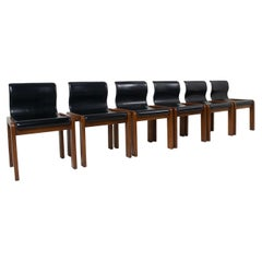Six Afra & Tobia Scarpa Midcentury Leather and Plywood Dining Chairs, Italy