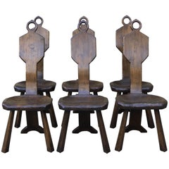 Six American Primitive Dining Chairs by John Barbor