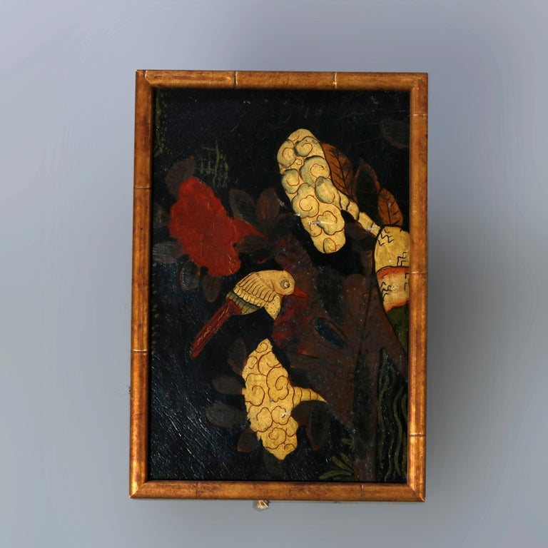 A set of six antique Chinese oil on canvas paintings depict genre and garden scenes with figures, flowers, birds, and a portrait, seated in giltwood frames, unsigned 18th - 19th century  Measures: 1). 13