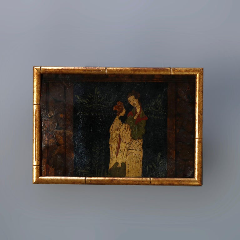 Six Antique Chinese Oil Paintings on Canvas, Genre & Garden Scenes, 18th-19th C In Good Condition For Sale In Big Flats, NY