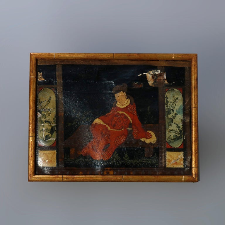 19th Century Six Antique Chinese Oil Paintings on Canvas, Genre & Garden Scenes, 18th-19th C For Sale