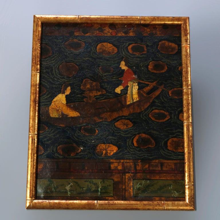 Six Antique Chinese Oil Paintings on Canvas, Genre & Garden Scenes, 18th-19th C For Sale 2