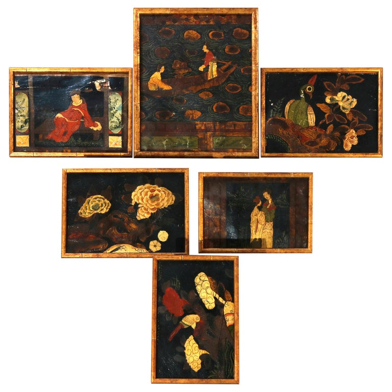 Six Antique Chinese Oil Paintings on Canvas, Genre & Garden Scenes, 18th-19th C For Sale