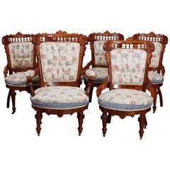 Six Antique Eastlake Spindled Walnut & Burl Upholstered Parlor Chairs, C1890