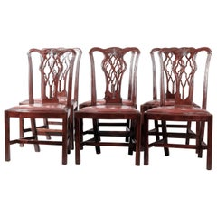 Six Antique English Mahogany Ribbon Back Chippendale Dining Chairs, circa 1910