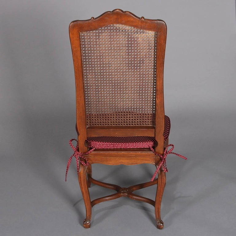 Six Antique French Louis XVI Carved Mahogany Caned Tall