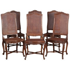 Six Antique French Louis XVI Carved Mahogany Caned Tall Back Dining Chairs