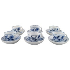 "Six Antique Meissen ""Blue Onion"" Coffee Cups with Saucer in Porcelain"