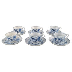 """Six Antique Meissen """"Blue Onion"""" Coffee Cups with Saucer in Porcelain"""