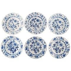 """Six Antique Meissen """"Blue Onion"""" Deep Plates in Hand Painted Porcelain"""