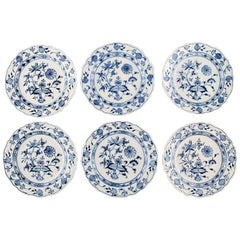 "Six Antique Meissen ""Blue Onion"" Lunch Plates in Hand Painted Porcelain"