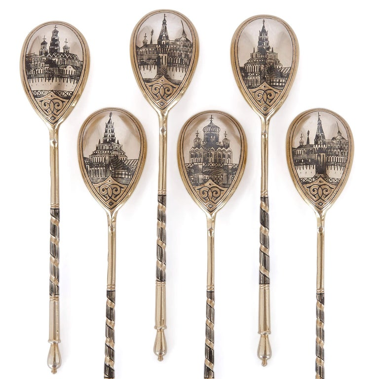 Russian Six Antique Moscow Silver-Gilt and Niello Spoons For Sale