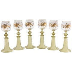 Six Antique Moser Raised Gilt Trumpet Stem White Wine Glasses, 19th Century