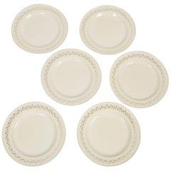 Six Antique Pierced Creamware Dinner Plates Made in England, circa 1790