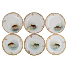 Six Antique Pirkenhammer Dinner Plates in Porcelain with Hand-Painted Fish