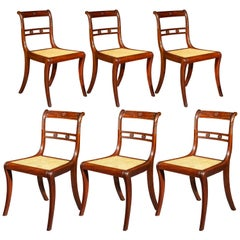 Six Antique Regency Klismos Dining Chairs Attributed to Gillows, circa 1810
