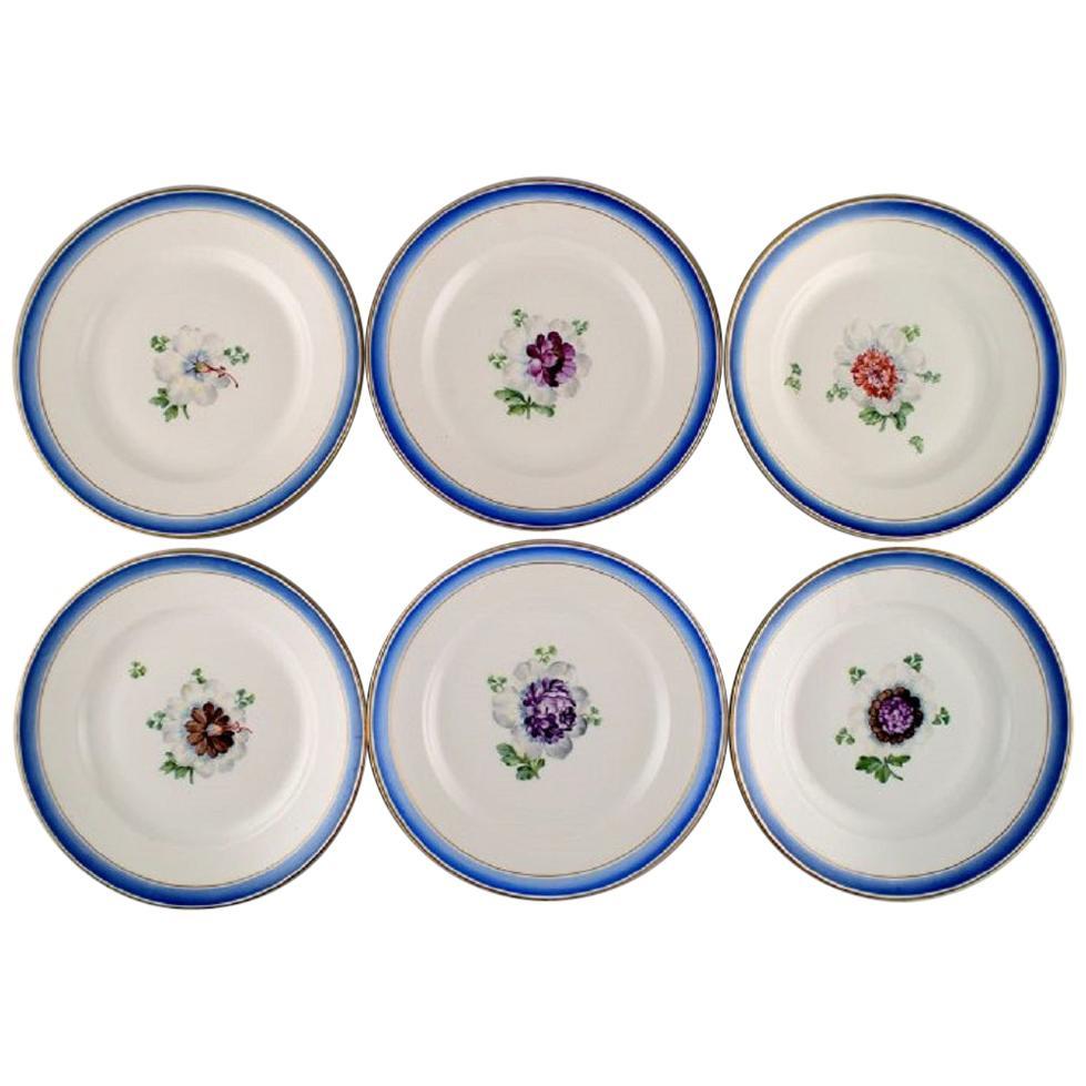 Six Antique Royal Copenhagen Plates in Hand Painted Porcelain