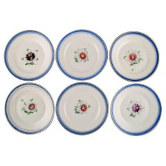 Six Antique Royal Copenhagen Plates in Hand Painted Porcelain with Flowers