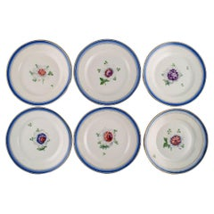 Six Antique Royal Copenhagen Plates in Hand-Painted Porcelain with Flowers