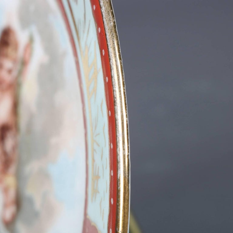 Six Antique Royal Vienna Classical Hand-Painted and Gilt Porcelain Plates For Sale 6