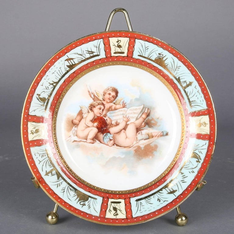 19th Century Six Antique Royal Vienna Classical Hand-Painted and Gilt Porcelain Plates For Sale