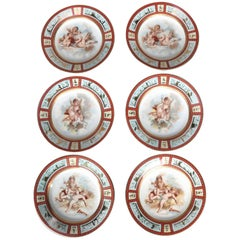 Six Antique Royal Vienna Classical Hand-Painted and Gilt Porcelain Plates
