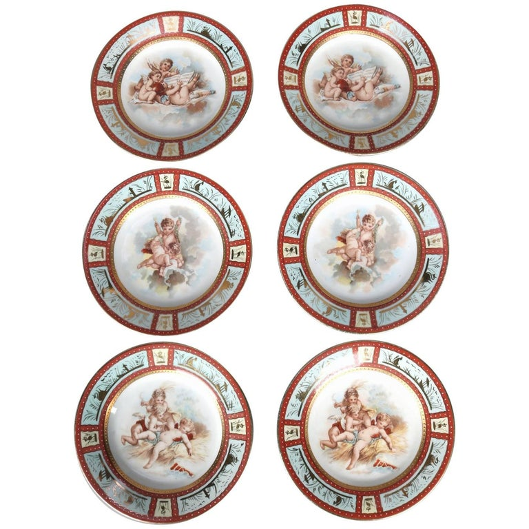 Six Antique Royal Vienna Classical Hand-Painted and Gilt Porcelain Plates For Sale