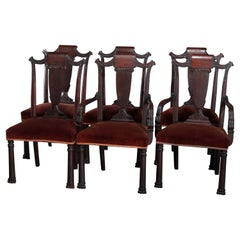 Six Antique Second American Empire Carved Flame Mahogany Dining Chairs