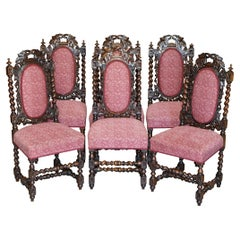 Six Antique Victorian Jacobean English Oak circa 1860 Carved Dining Chairs 6