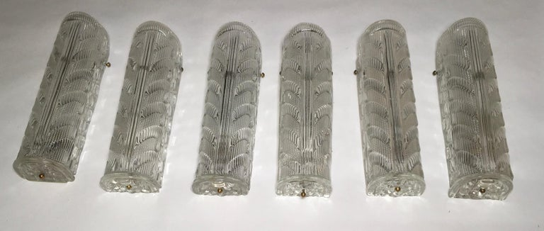 Six Appliques Murano Glass Italian Lighting by Barovier e Toso For Sale 1
