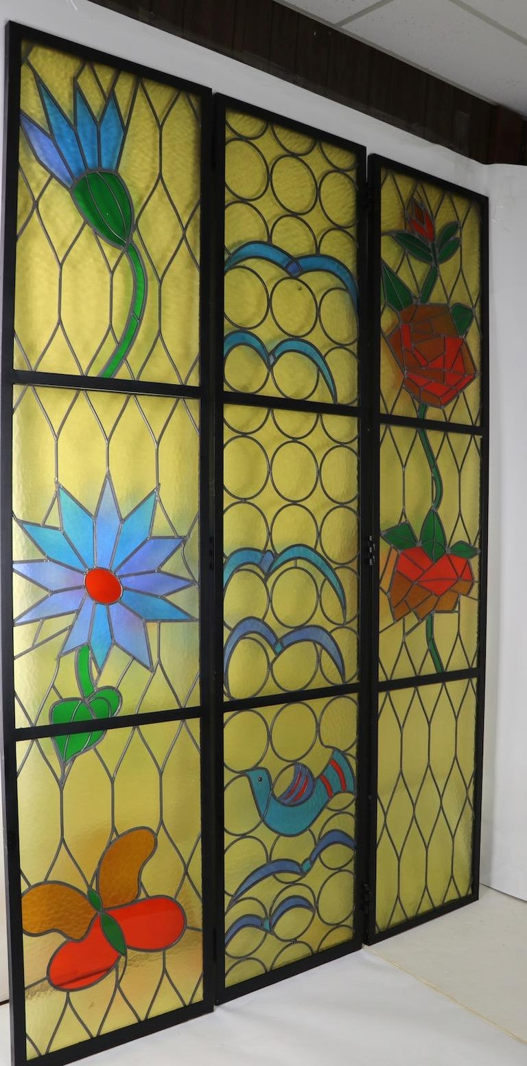 Stained Glass Six Architectural Scale Leaded Windows in the Modernist Style For Sale