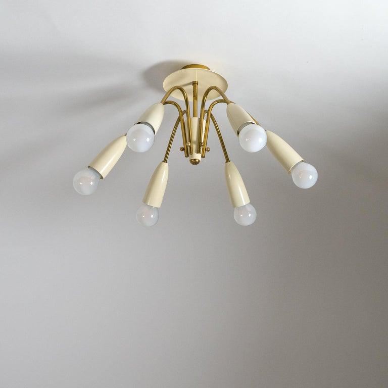 Six-Arm Brass Ceiling Lights, circa 1960 6