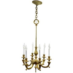 Six Arm Cast Brass Chandelier