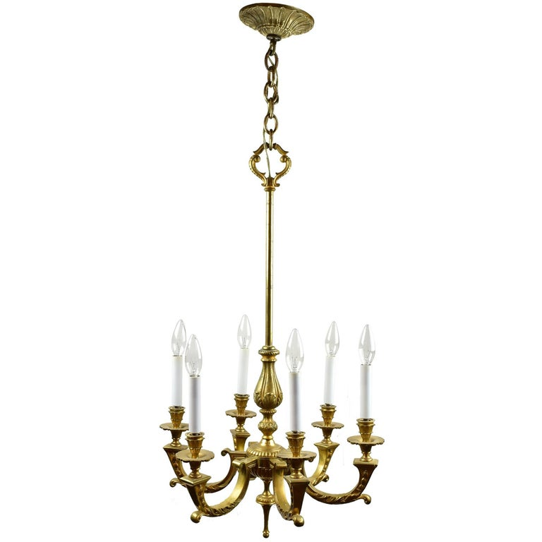 Six Arm Cast Brass Chandelier For Sale