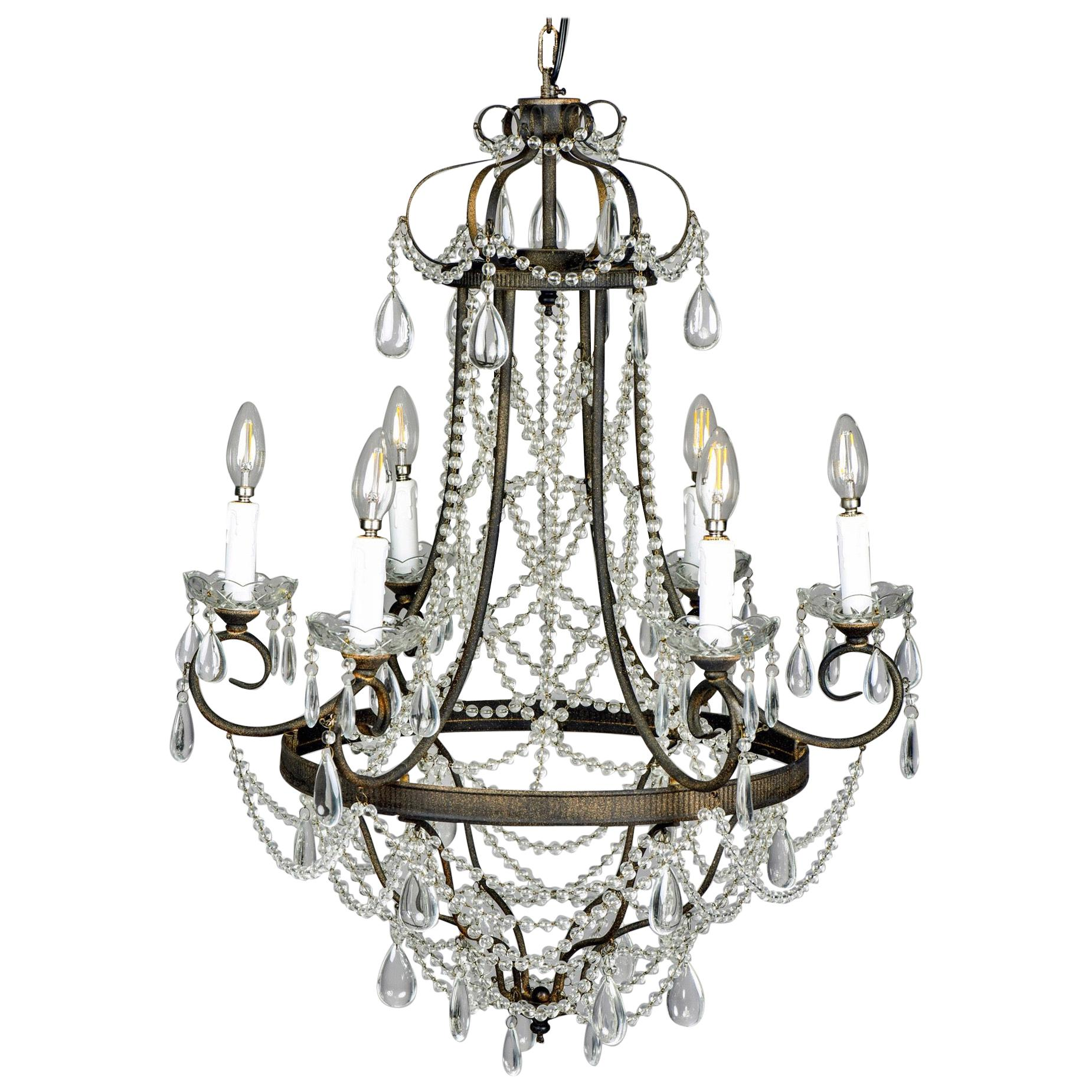 Six-Arm Iron and Crystal Chandelier
