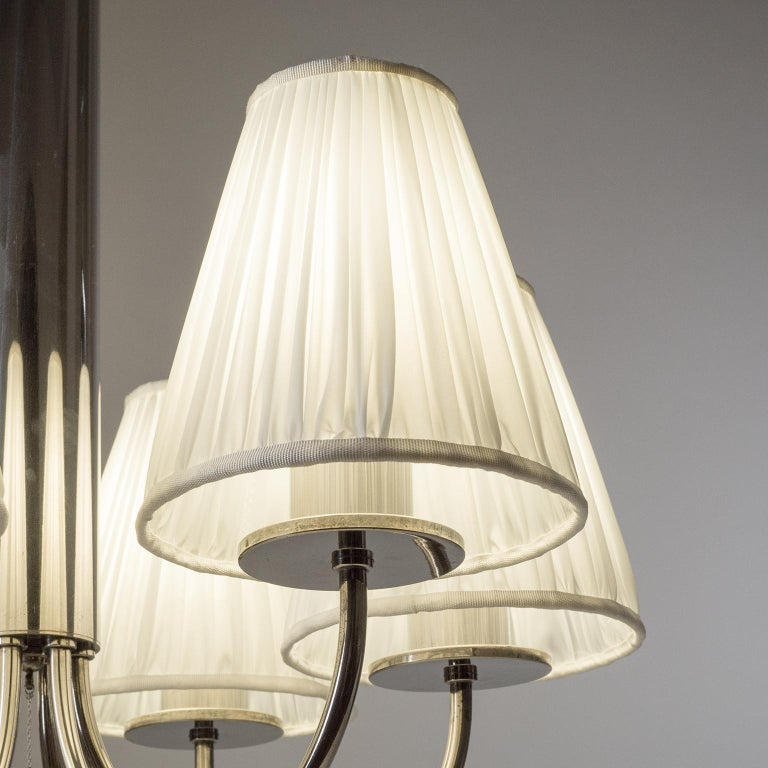 Early 20th Century Six-Arm Nickel Bauhaus Chandelier, circa 1928 For Sale