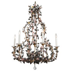 Six Arm Vintage Tole Chandelier with Hand Painted Leaves and Porcelain Flowers
