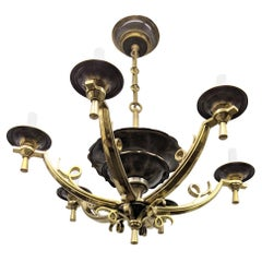 Six-Armed French Art Deco Chandelier
