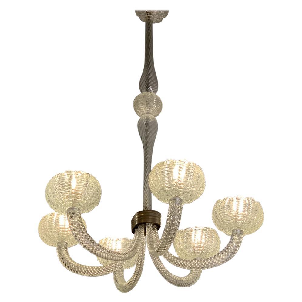 Six Arms Art Deco Murano Glass Chandelier