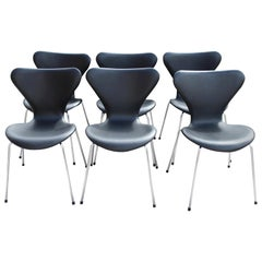 Six Arne Jacobsen Chairs by Fritz Hansen, Black Leather, Model 3107