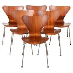Six Arne Jacobsen Series 7 Teak Dining Chairs