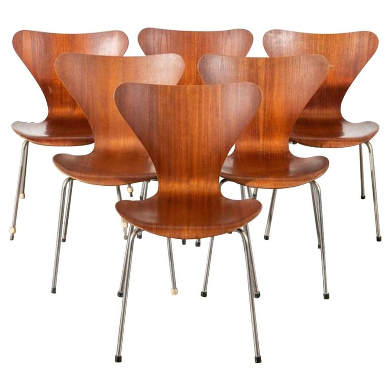 Swell Six Arne Jacobsen Series 7 Teak Dining Chairs Squirreltailoven Fun Painted Chair Ideas Images Squirreltailovenorg
